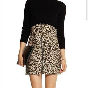 Carven Felted Wool Blend Leopard Mini Skirt 40/10